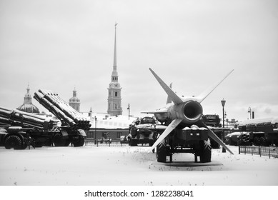 SAINT PETERSBURG, RUSSIA - 5 JANUARY 2019: Old launcher with a rocket missile complex in Military Artillery Museum in St.Petersburg, Russia. Black and white.