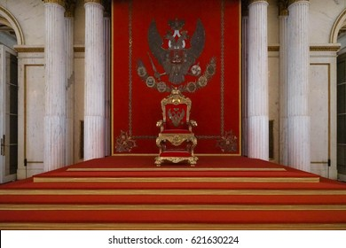 SAINT PETERSBURG, RUSSIA - APR 13, 2017: Royal throne, Interior of the State Hermitage, a museum of art and culture in Saint Petersburg, Russia. It was founded in 1764 by Catherine the Great.