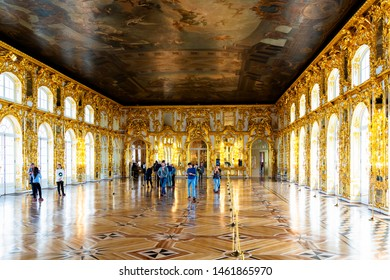 SAINT PETERSBURG, RUSSIA - APR 30 2019: Interior of Catherine palace, Tsarskoye Selo, Pushkin, Russia