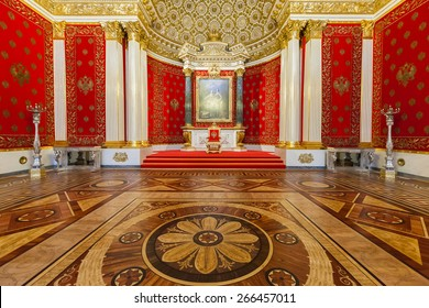SAINT PETERSBURG, RUSSIA - APRIL 04, 2015:  Interior of the State Hermitage (Winter Palace), Small Throne Hall. Hermitage is one of the largest and oldest museums of art and culture in the world