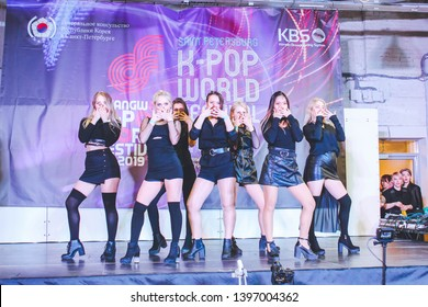 Saint Petersburg, Russia - April 20, 2019: KOREA COVER DREAM Hongdae Festival at Tkachi Creative Space w stars of Hondae, k-pop world festival, idol makeup master class, korean traditional street food