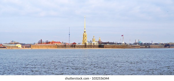 Saint Petersburg, Russia - April 2014: Panorana picture of  Soft tone Saints Peter and Paul Cathedral from another side of Neva river in late winter