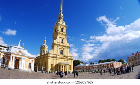 Saint Petersburg, Russia - April, 2017: Exterior of Saints Peter and Paul Cathedral