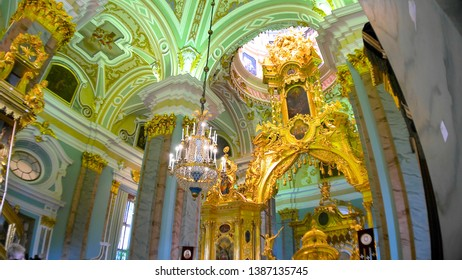 Saint Petersburg, Russia - April, 2017: Interior of Saints Peter and Paul Cathedral