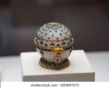Saint Petersburg, Russia. April 29 2018 - Close-up of a collection at the Faberge Museum in Saint Petersburg, Russia