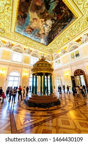 SAINT PETERSBURG, RUSSIA - APRIL 30, 2019: State Hermitage is museum of art and culture. One of oldest museums in world, it was founded in 1764 by Catherine Great