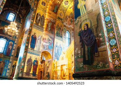 Saint Petersburg, Russia - April 5, 2019. Cathedral of Our Savior on Spilled blood - interior view of St Petersburg landmark. Mosaics at the columns and walls