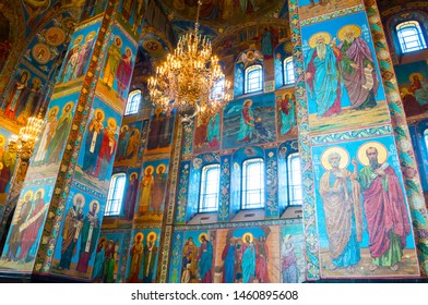 Saint Petersburg, Russia - April 5, 2019. Cathedral of Our Savior on Spilled blood - interior of St Petersburg landmark. Mosaics at the columns inside the cathedral