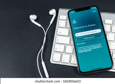 Saint Petersburg, Russia, April 6, 2018: Airbnb application icon on Apple iPhone X screen close-up. Airbnb app icon. Airbnb.com is online website for booking rooms. social media network.
