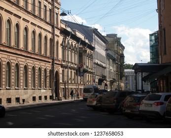 Saint Petersburg, Russia - Aug, 8, 2018: Karavannaya street facing Nevsky prospekt. Summer, daytime, hot.