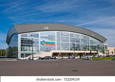 SAINT - PETERSBURG, RUSSIA - AUGUST 1, 2017: Sibur Arena - multi-purpose indoor sporting arena, concert and sports complex on The Krestovsky Island