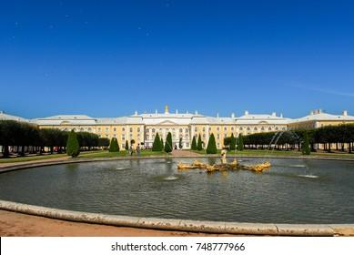 Saint Petersburg, Russia - August 10, 2007: The Peterhoff Palace in St. Petersburg, Russia