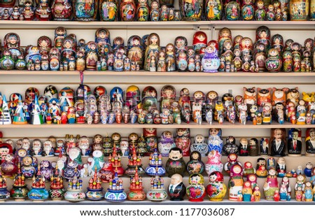 SAINT PETERSBURG, RUSSIA - AUGUST 10 2015: Colorful Russian nesting dolls at the market.