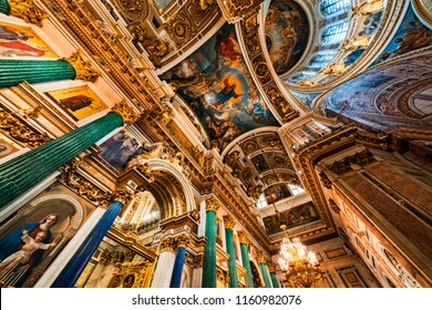Saint Petersburg, Russia - August 12, 2018: Detail of interior of Saint Isaac's Cathedral or Isaakievskiy Sobor