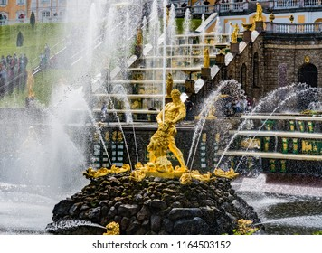 SAINT PETERSBURG, RUSSIA - AUGUST 12, 2018: Samson and the Lion fountain in Petergof Grand Cascade, St. Petersburg, Russia