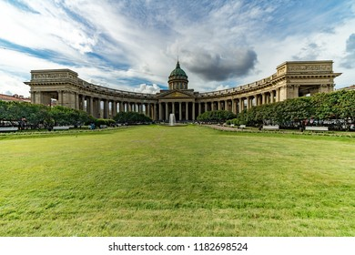 Saint Petersburg, Russia - August 13, 2018: Kazan Cathedral (Cathedral of Our Lady of Kazan). A Russian Orthodox Church in Saint Petersburg, Russia
