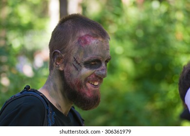 Saint Petersburg, Russia - August 15, 2015: people dressed as zombies parade on the street while walking in St. Petersburg zombie, the zombie walk is part of the event a flash mob.
