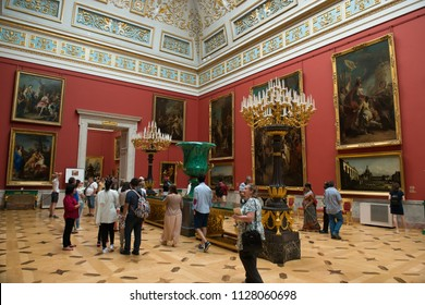 SAINT PETERSBURG, RUSSIA - AUGUST 18, 2017: Many people visit the State Hermitage Museum in Saint Petersburg, Russia. Hermitage was founded in 1764, by Empress Catherine the Great