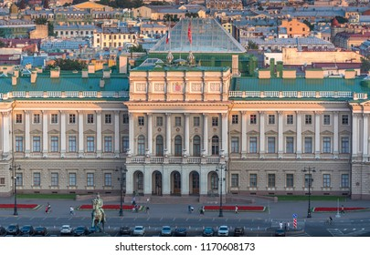 Saint Petersburg, Russia - August 18 2018: Closeup aerial view of Mariinsky Palace facade from St. Isaac's Cathedral at sunset. This Neoclassical imperial palace is also known as Marie Palace