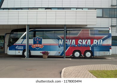 Saint Petersburg, Russia - August 18, 2018: Bus SKA hockey team at the new base. The inscription Gazprom Export , SKA Neva . Side view.