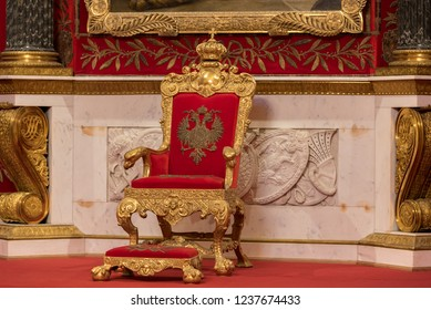 Saint Petersburg, Russia – August 2018: Close-up of golden throne of Tsar, throne room, Peter the Great Memorial Hall, Hermitage Museum, Winter Palace, St Petersburg