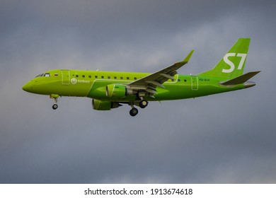 SAINT PETERSBURG, RUSSIA - AUGUST 26, 2020: Airplane Embraer ERJ-170 (VQ-BYF) of S7-Siberia airlines in cloudy sky