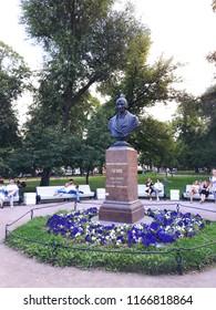Saint Petersburg, Russia - August 4, 2018: Monument to the famous writer Nikolai Gogol