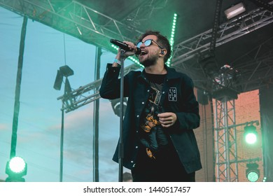 Saint Petersburg, Russia - August 5, 2018: Rhymes Show Music Festival, rap music festival in creative space Street Art Museum, russian rapper Oleg LSP