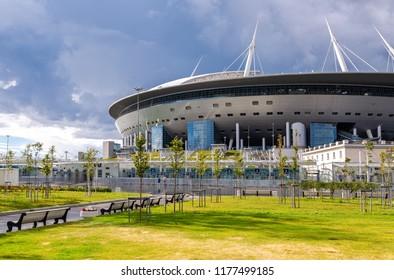 Saint Petersburg, Russia - August 8, 2018: Saint Petersburg Arena football stadium on Krestovsky island. Outdoor view of new modern soccer stadium Zenith arena