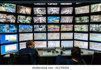 SAINT- PETERSBURG, RUSSIA - AUGUST 8, 2014: Control room of the attraction Grand Russian layout. Is the largest layouts in Russia and the second largest in the world