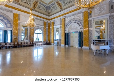 Saint Petersburg, Russia - August 9, 2017: Konstantinovsky (Congress) Palace in Strelna. Interior one of the halls of Palace