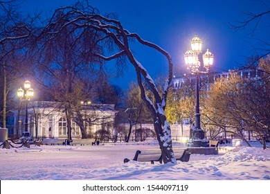 Saint Petersburg. Russia. Catherine Square. Park on Nevsky Prospect. Catherine Square in the winter. Night St. Petersburg. Snow in Russia. Traveling around St. Petersburg. Tours to Russia.