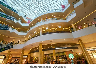 SAINT PETERSBURG, RUSSIA - CIRCA AUGUST, 2017: inside Galeria shopping center. Galeria is major shopping and entertainment center is located in downtown of St. Petersburg