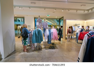 SAINT PETERSBURG, RUSSIA - CIRCA AUGUST, 2017: inside Mango store at Galeria shopping center. Mango is a clothing design and manufacturing company, founded in Barcelona, Spain.