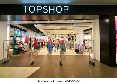 SAINT PETERSBURG, RUSSIA - CIRCA AUGUST, 2017: Topshop at Galeria shopping center. Topshop is a British multinational fashion retailer of clothing, shoes, make-up and accessories.