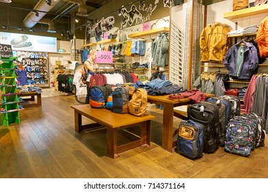 SAINT PETERSBURG, RUSSIA - CIRCA AUGUST, 2017: inside Quiksilver store at Galeria shopping center. Quiksilver, Inc. is an American retail sporting company.