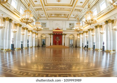 SAINT PETERSBURG, RUSSIA - CIRCA FEBRUARY, 2016: The State Hermitage Museum, St George's Hall is Great Throne Room and one of the largest state rooms