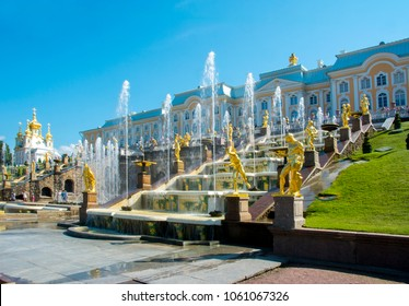 SAINT PETERSBURG, RUSSIA - CIRCA JULY 2017: Grand cascade of fountains and Peterhof palace in Lower park