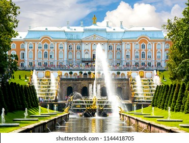 SAINT PETERSBURG, RUSSIA - CIRCA JULY 2018: Grand Cascade of Peterhof Palace, Samson fountain and fountain alley