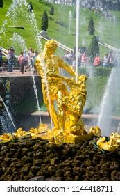 SAINT PETERSBURG, RUSSIA - CIRCA JULY 2018: Samson fountain in Lower park of Peterhof