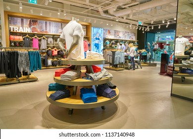 SAINT PETERSBURG, RUSSIA - CIRCA MAY, 2018: interior shot of Under Armour store in Galeria shopping center.