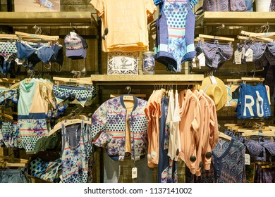 SAINT PETERSBURG, RUSSIA - CIRCA MAY, 2018: goods on display at Quiksilver store in Galeria shopping center.