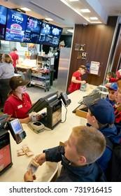 SAINT PETERSBURG, RUSSIA - CIRCA SEPTEMBER, 2017: counter service in a McDonald's restaurant. McDonald's is an American hamburger and fast food restaurant chain.