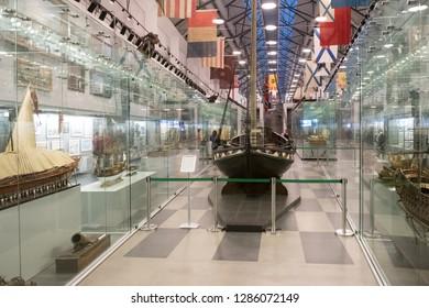 Saint Petersburg, Russia - December 16 2018.  Interiors of Central Naval Museum in Saint Petersburg.