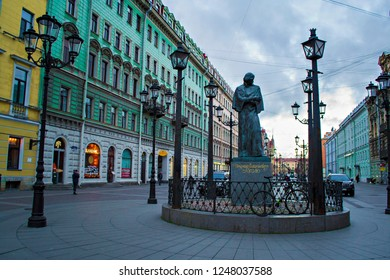 SAINT PETERSBURG, RUSSIA - December 2018: The Statue of russian writer Nikolay Gogol on Malaya Konushennaya street in the center of Saint Petersburg, Russia