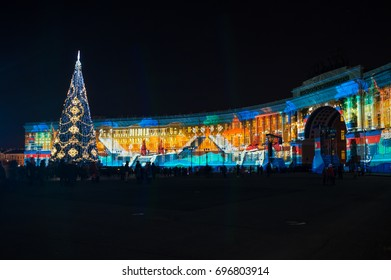 SAINT- PETERSBURG, RUSSIA - DECEMBER 27, 2015: Light show on Palace square in the New Year Eve, Saint Petersburg, Russia