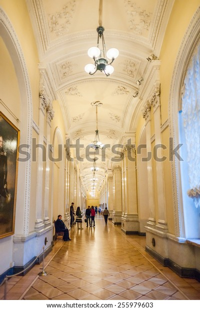 SAINT PETERSBURG, RUSSIA - FEB 24, 2015: Interior of the State Hermitage, a museum of art and culture in Saint Petersburg, Russia. It was founded in 1764 by Catherine the Great