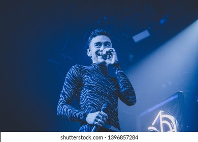 Saint Petersburg, Russia - February 17, 2019: Years & Years (Years and Years) with Olly Alexander, a British synth-pop band, founded in London, concert show in club A2 Green concert