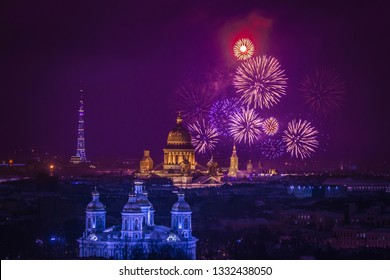 Saint Petersburg. Russia. Firework in St. Petersburg panorama. Fireworks over the Petroapavlovsk fortress. Salute in honor of the liberation of the Leningrad from the Nazi blockade. Russian history.