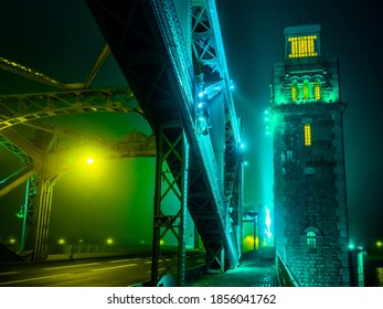 Saint Petersburg. Russia. Fragment of Bolsheokhtinsky bridge over the Neva river. The span and Tower of the bridge of Peter the Great. Bridges Of  Petersburg. The unusual appearance of the Petersburg